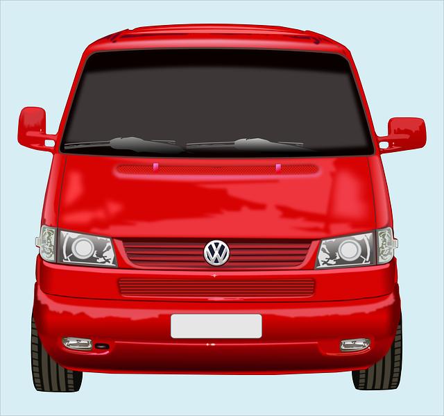 dodávka, VW, červená