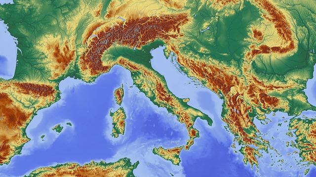 reliéfní mapa